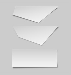Realistic blank paper pieces mockup for banner vector