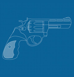 revolver outline drawing on blueprint background vector image