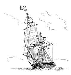 Sailing ship vintage frigate on waves hand vector