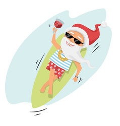 santa claus rest on surfboard on the sea with vector image