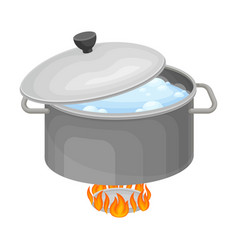 Saucepan with boiling water on burner for cooking vector