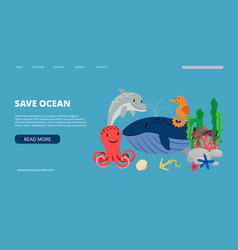 save ocean landing page vector image