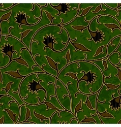 Seamless floral dark green damask pattern vector