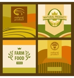 set eco food and farm logo green concept vector image