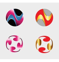 Set of circle round logos useful for your design vector image