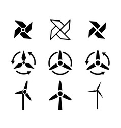 Set of fan and wind energy icons vector