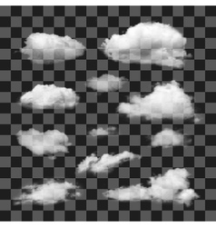 Set of transparent different clouds vector