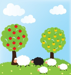 Sheep and nature vector image