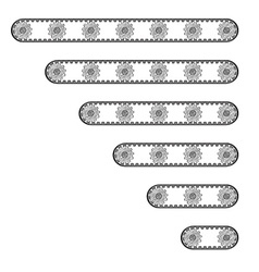 Six conveyor belts with many cogwheels vector