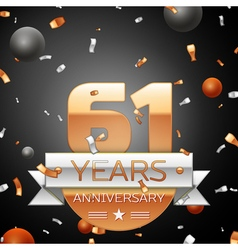 Sixty one years anniversary celebration background vector