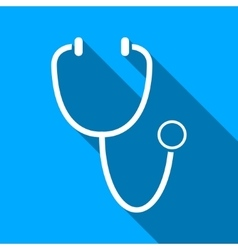 Stethoscope Flat Long Shadow Square Icon vector image