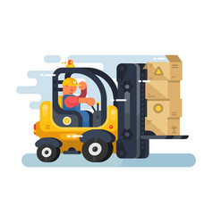 storekeeper loader forklift flat design vector image