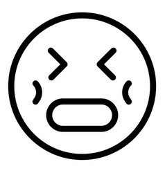 Stress emoji icon outline style vector