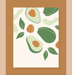 stylish cover design with avocado fruits vector image
