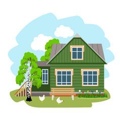 Summer house in village vector