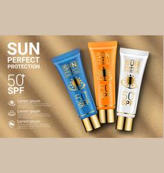 sun protection cosmetics cosmetics mockup design vector image
