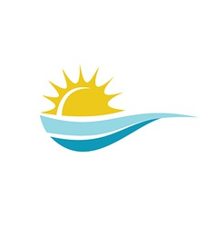 Sun with sea surface logo template vector