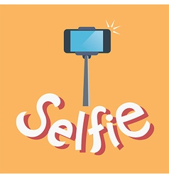 Taking selfie photo on smart phone concept vector