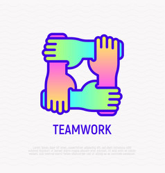 teamwork thin line icon with gradient vector image