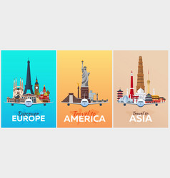 Travel posters to europe america asia vacation vector