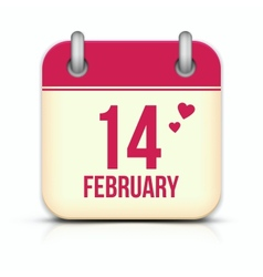 Valentines day calendar icon with reflection 14 vector image