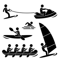 water sea sport skurfing rowing windsurfing vector image