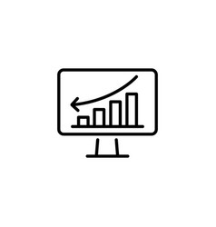 web line icon monitor with business graph vector image
