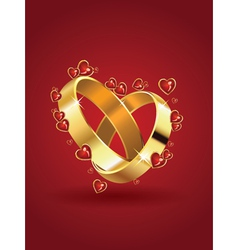 Wedding rings and hearts vector image