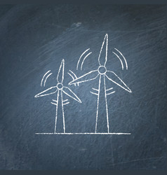 wind turbine chalkboard sketch vector image