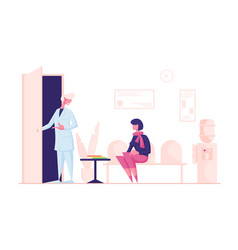 woman patient sitting in clinic lobon couch vector image