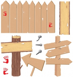 Wooden signs and fences vector