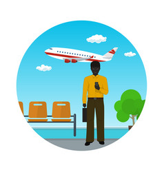african american businessman at the airport vector image