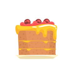 festive cake with cherries sweet dessert cartoon vector image vector image