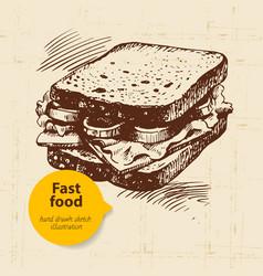 Hand drawn vintage fast food background vector image vector image