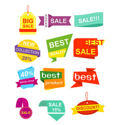set pf labels stickers vector image vector image