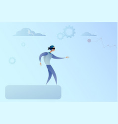 business man blind walking to cliff gap crisis vector image