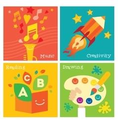 Children creativity development icon set vector image