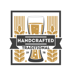 handcrafted traditional beer retro logo vector image vector image