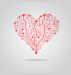 pcb red heart design vector image vector image