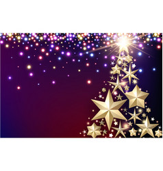 purple background with christmas tree vector image