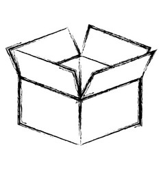 Silhoutte box opened icon vector