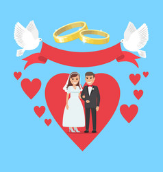 wedding day concept couple in ruddy big heart vector image