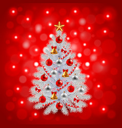 White decorated Christmas tree on red background vector image