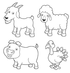 Animal farm outline vector image vector image
