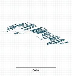 Doodle sketch of cuba map vector