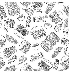 fast food seamless pattern in doodle style vector image vector image