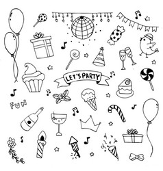 hand drawn doodle party set cerebrate decoration vector image vector image