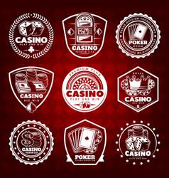 white vintage gambling labels set vector image vector image