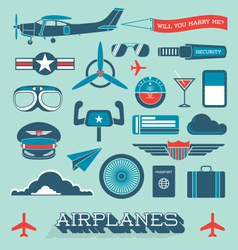 Airplanes and Flight Icons and Objects vector image vector image