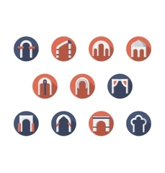 Arch constructions round flat icons set vector image vector image